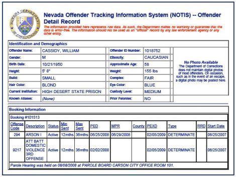 Nevada Dept of Corrections tracking for Cassidy