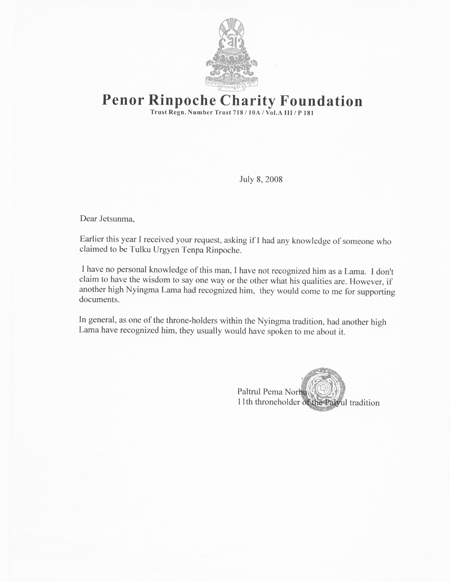Letter from His Holiness Penor Rinpoche